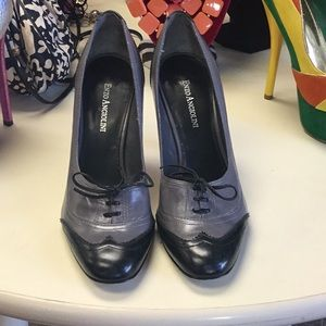 Gray and black old fashioned heels